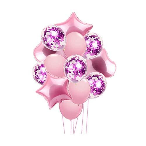 Beito 14 PC Party-Ballone 18 Zoll Stern und Herz-Ballone 12-Zoll-Latex-Ballon Confetti-Ballon mit Band für Partybedarf Abschluss-Hochzeit Dekorationen Rosa