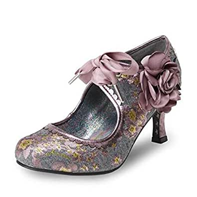 Ladies Womens Court Shoes Mid Heel Rose Floral Couture Slip On Size