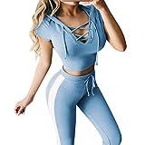 friendGG ❤️❤ Sportanzug Damen, Frauen Elegant Sport Yoga Outfits Hoodies Sweatshirt+Hosen Lang Lässige Bauchfrei T-Shirt Slim Fit Jogginganzug Sportkleidung
