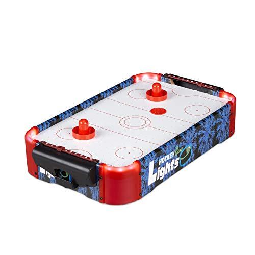 Relaxdays Airhockey Tischspiel, Profi Lufthockey mit LED-Beleuchtung, mit Gebläse, inklusive Zubehör, Tischhockey, bunt