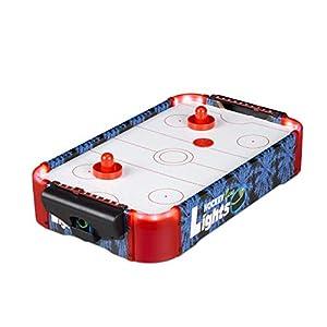 Relaxdays 10024098 Airhockey - Mesa de Hockey Profesional con iluminación LED, con Ventilador, Incluye Accesorios, Taburete de Mesa