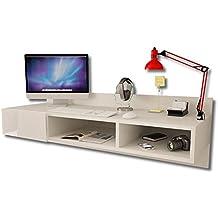 -Moderno escritorio montado a la pared, flotante, con un cajón brillante