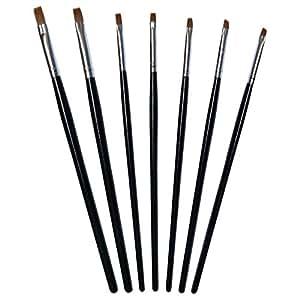 7-teiliges Pinselset für die Nagelmodellage - 7 Stück Gelpinsel in verschiedenen Größen und Formen