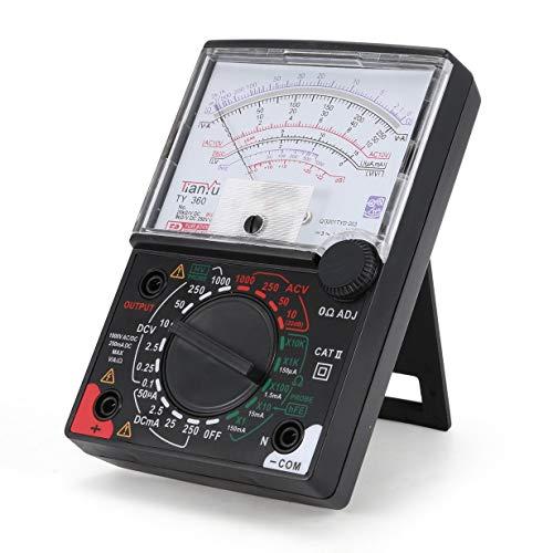 camellia TY-360 Zeiger Multimeter AC / DC Voltmeter Amperemeter True RMS Diode Ohm Widerstand Tester Daten Halten Analog w Prüfkabel (Schwarz) Current Sensing Switch