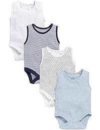 next Bebé Niño Paquete De Cuatro Camisetas Bodies Sin Mangas De Algodón Diseños Varios Azules (0 Meses-3 Años)