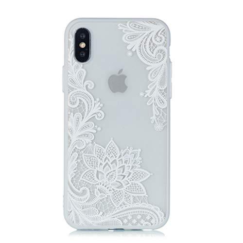 Keyihan iphone 8 plus / 7 plus custodia cover sollievo pizzo modello datura mandala fiore protettiva bumper caso rigida con silicone morbido bordo per apple iphone 7 plus (bianca paisley fiore)