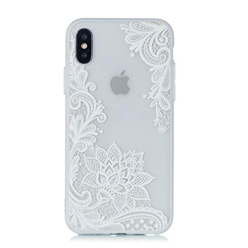 "Keyihan iPhone XS/iPhone X Funda Carcasa Flor de Encaje en Relieve Datura Tótem Mandala Patrón Parachoques Duro con Borde Suave Bumper Case para Apple iPhone X, iPhone XS (5.8"") (Blanco Paisley)"