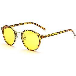 Cyxus Anti Blaulicht Brillen runden retro rahmen [Augenschutz] computer brille,Unisex(Herren / Damen) blockierung uv brillen (Gelb Linse) Leopardenmuster Rahmen