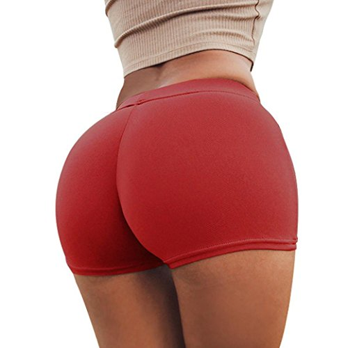 Gürtel Skinny Rote (squarex Sommer Frauen Sport Shorts Gym Workout Bund Skinny Yoga kurze Unterhose, damen, rot, S)