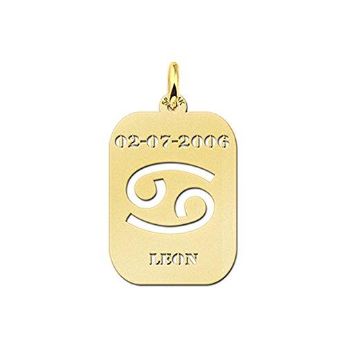 Nome collana Forever con ciondolo rettangolare con angoli arrotondati in oro cancro segno zodiacale Astrologia e incisione nome sul davanti, Oro giallo, colore: gold, cod.