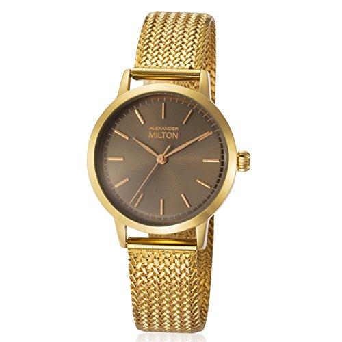 ALEXANDER MILTON - montre femme - FLORA, dore/marron