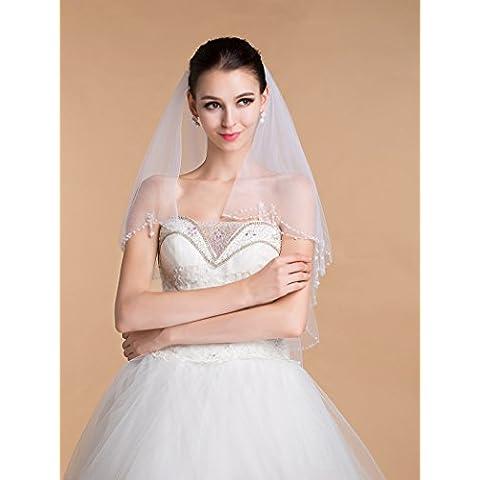 Cosidos a mano de gama alta joyería de la boda de doble capa blanca de marfil del velo de novia