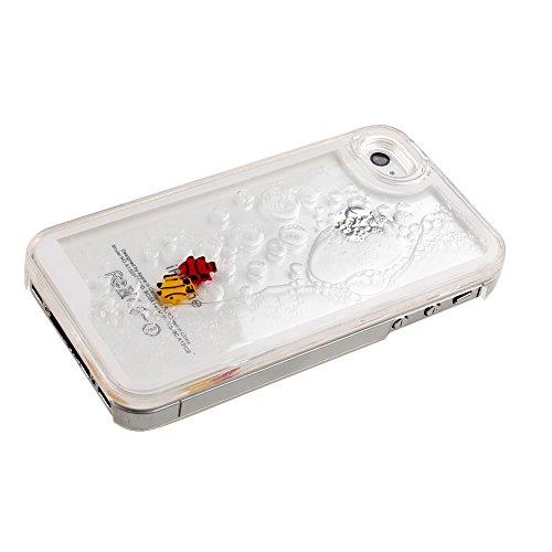 ISAKEN iPhone 4S Hülle,iPhone 4 Hülle,iPhone 4S Case,Hard Hülle für iPhone 4S 4,Kreativ Design Liquid Fließen Flüssig Schwimmend Fisch Goldfisch Design Crystal Clear Hard Case Tasche Transparent Prote Transparent