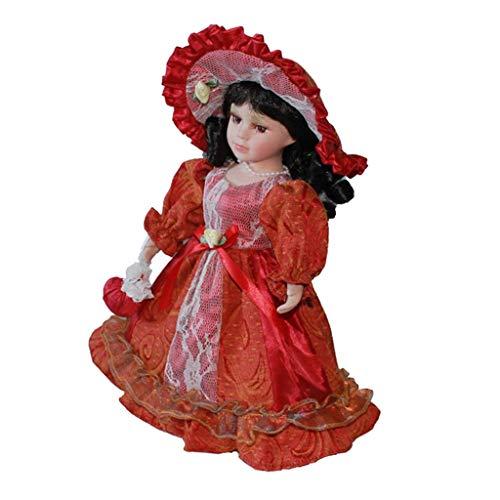 t Porzellan Mädchen Puppen Menschen Figur in Prinzessin Kleid Kostüm Dekoration - Rot, B ()