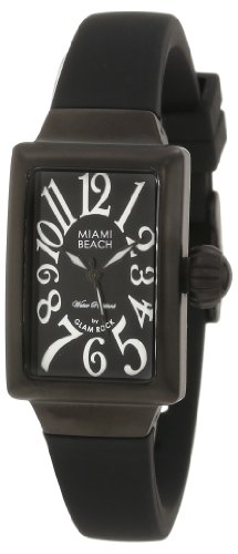 Glam Rock Miami Beach Art Deco MBD27026 32X22mm Ion Plated Stainless Steel Case Black Silicone Mineral Women's Watch