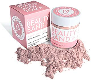 Beauty Sand Pink Bentonite Rose Clay Mask- Pimples and Pore Removal - Face Exfoliator for Sensitive Skin - Best Acne Treatment - Skin Tightening and Brightening Facial - Chamomile - Rose Hip Pollution