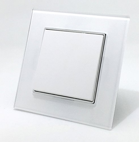 Wallpad EU Standard Glas weiß Kristall 1 Gang 2 Way Push Button Schalter, Lichtschalter, 47 mm Box nötig Wall-plate 1 Gang