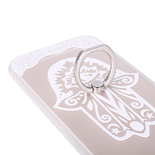 Coque iPhone 6 Plus/6S Plus, iPhone 6S Plus Coque en Silicone bord [Ultra Hybrid] Transparent Housse Etui, iPhone 6 Plus Silicone bord Coque Clair Ultra-Mince Relief Slim Plastique arrière Étui Motif  Blanc-Palm fleur