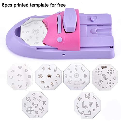 1PC Nail Art Printer Nagel Stamping Maschine Berufsnagel-DIY Muster Applicator bewegliche Nagel-Kunst-Stamper Maniküre Werkzeuge mit 6 Zufällige Shaped Printed Vorlagen (Purple) (Digital-nagel-kunst-maschine)