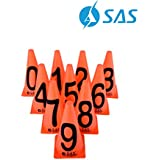 "SAS SPORTS 9"" Marker Cones (0,1,2,3,4,5,6,7,8,9 with Numbers) for Soccer Cricket Track and Field Sports 
