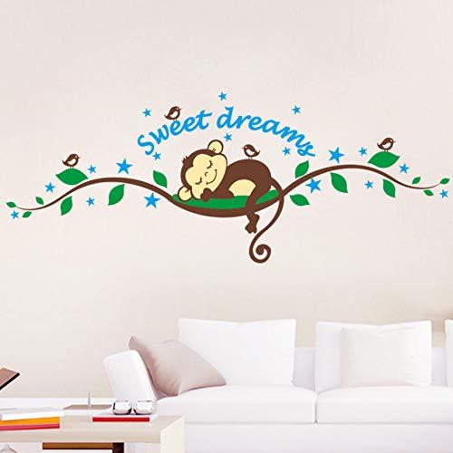 Sueño dulce Mono durmiendo en los árboles pegatinas de pared habitación de los niños calcomanía Mural Kids Nursery Dormitorio cartel de arte papel tapiz
