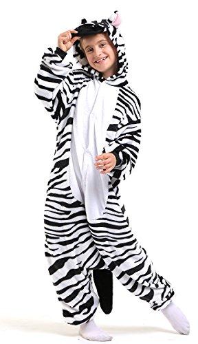 Zebra Ganzkörper Tier-Kostüm für Kinder - Plüsch Einteiler Overall Jumpsuit Pyjama Schlafanzug - Schwarz/Weiß - Größe 126-134 (Hersteller Gr. 115)