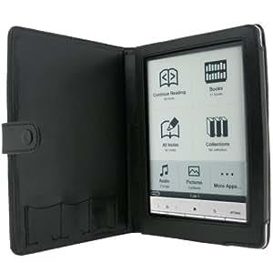 igadgitz Leder Tasche Etui Schutzhülle Case Hülle echtes Leder seitlich aufklappbar in Schwarz für Sony Portable Digital Book eReader Serie PRS-600 PRS600 Ausgabe Touch