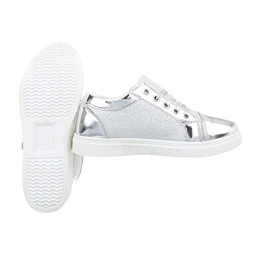 Ital-Design Sneakers Low Damenschuhe Sneakers Low Sneakers Schnürsenkel Freizeitschuhe Silber N-4