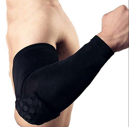 ake-basketball-gear-high-elastic-anti-collision-arm-guard-honeycomb-elbow-pads-black