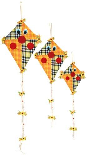 Deko-Hänger Drachen im 6er Set aus Holz und Stoff, Dekoration für drinnen / draußen, in gelblichen Farben mit verschiedenen Mustern und niedlichen Gesichtern, nicht nur im Herbst ein echter Hingucker
