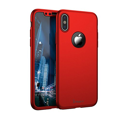 Custodia cover iphone x 360 gradi copertura completa ultra slim + vetro temperato screen protector film regalo, ipaky shock-absorption case per apple iphone x / 10 (iphone x, rosso 5,8