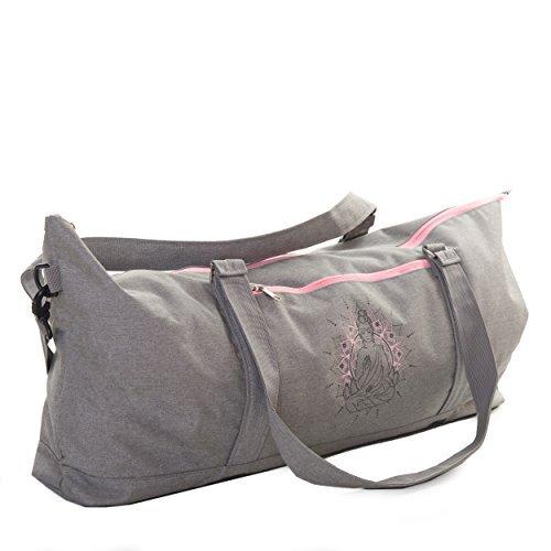 JamPa Großer Yoga Matte Tasche | Full Reißverschluss schließen | Verstellbarer Schultergurt | viele Fächer | leicht zu tragen | passend für Dicke Matten | grau - Yoga-matte Gecko