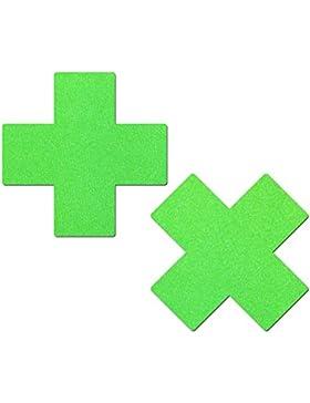 Pastease Mujer Plus X: verde neón Material de lycra Cruz Pasties