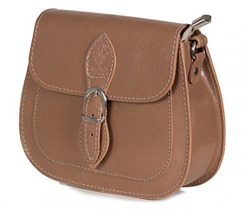 Italienische Umhängetasche Abendtasche aus glänzendem Glattleder (21 x 16 x 6 cm), Farben:Braun (Dark Camel) (Bag Camel Dark)