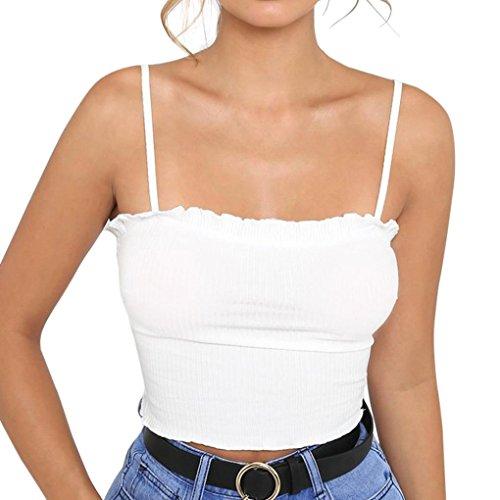 Tanktops Damen Dasongff Mode Frauen Rüschen Tank Top Einfarbige Kurze Weste Trägertop Schulterfrei Halter Bluse T-Shirt Enge Leibchen Crop Top Camis (S, Weiß) -
