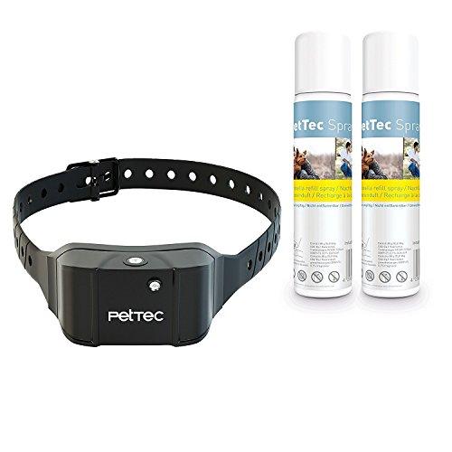 PetTec Antibark Spray Trainer Advance Antibell Erziehungshalsband mit integriertem Akku automatischem Sprühsignal inkl. 2x Citronella Nachfüllspray