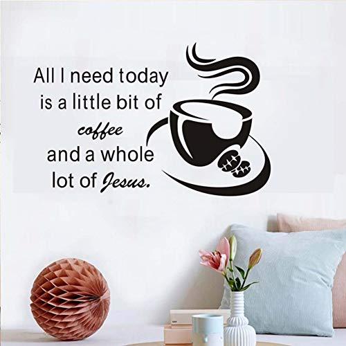 Kaffee Für Jesus Tasse Vinyl Aufkleber Für Küche Abnehmbare Tapeten Wandbilder Wohnkultur Wandkunst Aufkleber Für Restaurant Esszimmer_bdpq
