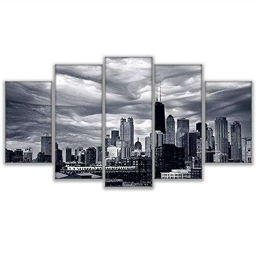 Malerei 5 Panel Chicago Skyline Gebäude Moderne Druckart Poster Leinwand Malerei Hd Drucken Wohnkultur-30X40/60/80Cm,With Frame ()