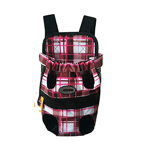 Pet Hunde Rucksack Carrier vorne Pack verstellbar Katze Outdoor Travel Bag Rot Gitter M