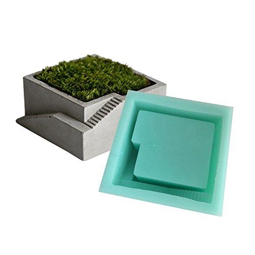 Quadratische 3D-Tontopf-Form aus Silikon, zum Herstellen von Sukkulenten-Blumentöpfen aus Beton/Zement, mit kleiner Treppe, für Moos, Bonsai etc.