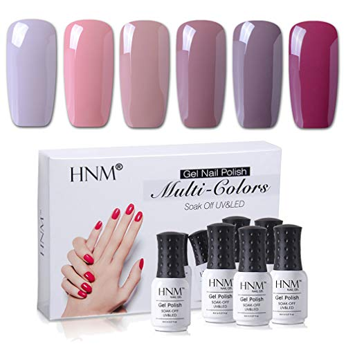 Gel Nail Polish HNM 6 Colors Combo UV LED Soak Off Nail Art Manicure Salon Gift Set Starter Kits Nude Color Series 8ML