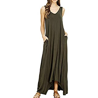 OBEEII Women Casual Dresses V Neck Sleeveless Tank Top Loose Pockets Boho Long Maxi Dress Sexy Lady Summer Sundress for Wedding Party Beach Cocktail Prom Holiday Army Green XL