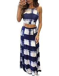 Ninimour Womens Tie Dye Print Crop Top Side Slit 2 Pcs Skirt Set Casual Dress
