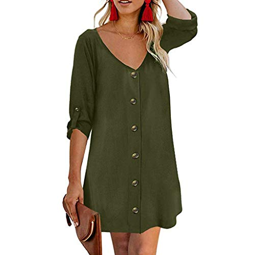 Makefortune  Summer Dresses for Women Casual V Neck Midi Dress Roll Up Long Sleeve Shirt Dress Button Down Swing A Line Tunic Dress Sperry Womens Tie