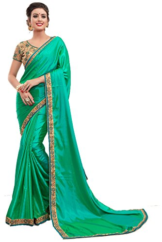 Tagline Women's Georgette Saree With Blouse Piece (Tag1221 ,Green,Free Size)