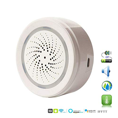 ECOOLBUY WiFi Inteligente Bajo Techo, en Exteriores Temperatura Humedad Sensor Funciona con Alexa Google...