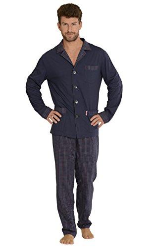 FOREX Lingerie Edler Herren-Pyjama aus 100{a51f1237ced902b15494b1e9737daa6ad42c2bffebd0eb450c19b4765dc0bf81} Baumwolle Schlafanzug Hausanzug (XXL, Dunkelblau)
