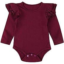 QinMM Body Recién Nacido bebé Niños Niñas Sólido Volantes Manga Larga ... 47df6b4cac6