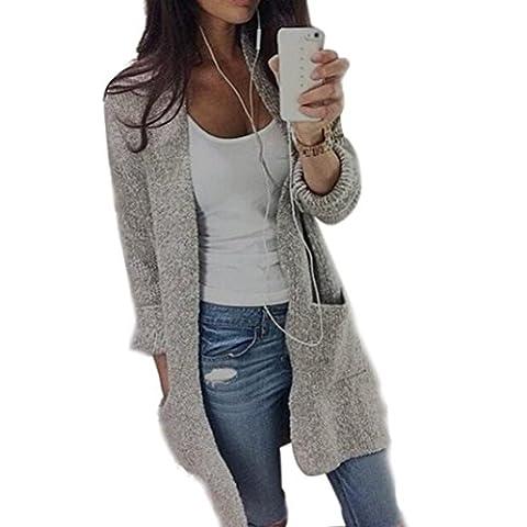 Strickjacken Damen Pullover Sweater Jacke Jacket Langarm Knitted Sweater Frauen Lang Cardigan Knitting Warm Xinan Hoodie Bluse Top (L, Grau)