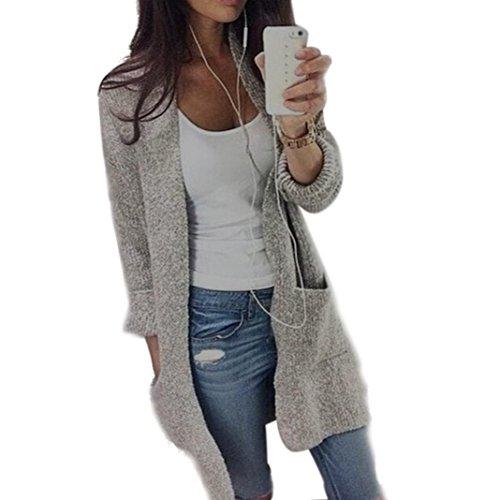 Cardigan Damen ,LMMVP Frauen Beiläufige Lange Hülsen Strickjacke Mantel Wolljacke Jacke (L, Gray) (Gefütterter Wolle-mischung)